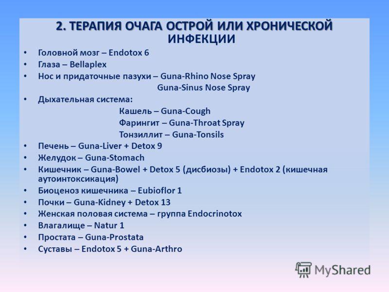 2. ТЕРАПИЯ ОЧАГА ОСТРОЙ ИЛИ ХРОНИЧЕСКОЙ 2. ТЕРАПИЯ ОЧАГА ОСТРОЙ ИЛИ ХРОНИЧЕСКОЙ ИНФЕКЦИИ Головной мозг – Endotox 6 Глаза – Bellaplex Нос и придаточные пазухи – Guna-Rhino Nose Spray Guna-Sinus Nose Spray Дыхательная система: Кашель – Guna-Cough Фарин