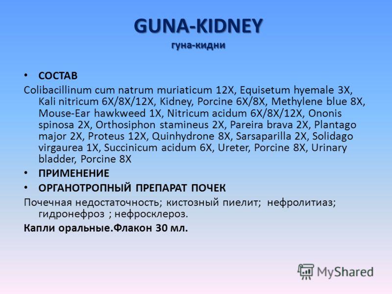 GUNA-KIDNEY гуна-кидни СОСТАВ Colibacillinum cum natrum muriaticum 12X, Equisetum hyemale 3X, Kali nitricum 6X/8X/12X, Kidney, Porcine 6X/8X, Methylene blue 8X, Mouse-Ear hawkweed 1X, Nitricum acidum 6X/8X/12X, Ononis spinosa 2X, Orthosiphon stamineu
