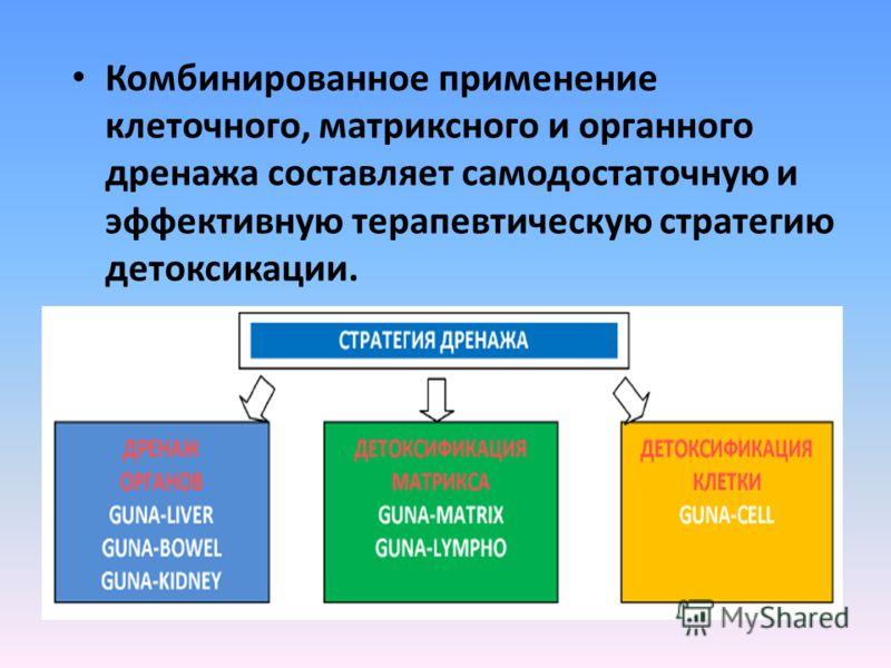 Комбинированное применение клеточного, матриксного и органного дренажа составляет самодостаточную и эффективную терапевтическую стратегию детоксикации.