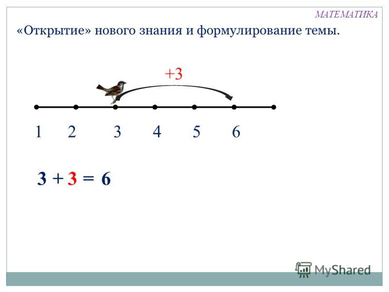 «Открытие» нового знания и формулирование темы. 12346 +3 5 33+ = 6 МАТЕМАТИКА