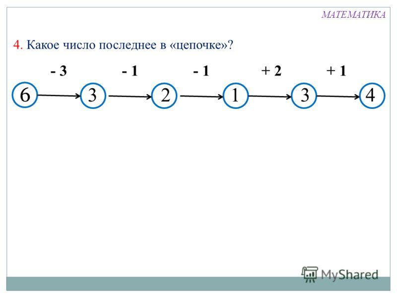 6 - 3- 1 + 2+ 1 4. Какое число последнее в «цепочке»? 32143 МАТЕМАТИКА