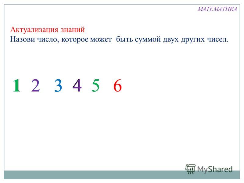 3 3 Актуализация знаний Назови число, которое может быть суммой двух других чисел. 1 2 3 441526513 МАТЕМАТИКА