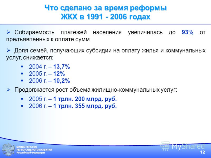МИНИСТЕРСТВО РЕГИОНАЛЬНОГО РАЗВИТИЯ Российской Федерации 12 Собираемость платежей населения увеличилась до 93% от предъявленных к оплате сумм Доля семей, получающих субсидии на оплату жилья и коммунальных услуг, снижается: 2004 г. – 13,7% 2005 г. – 1