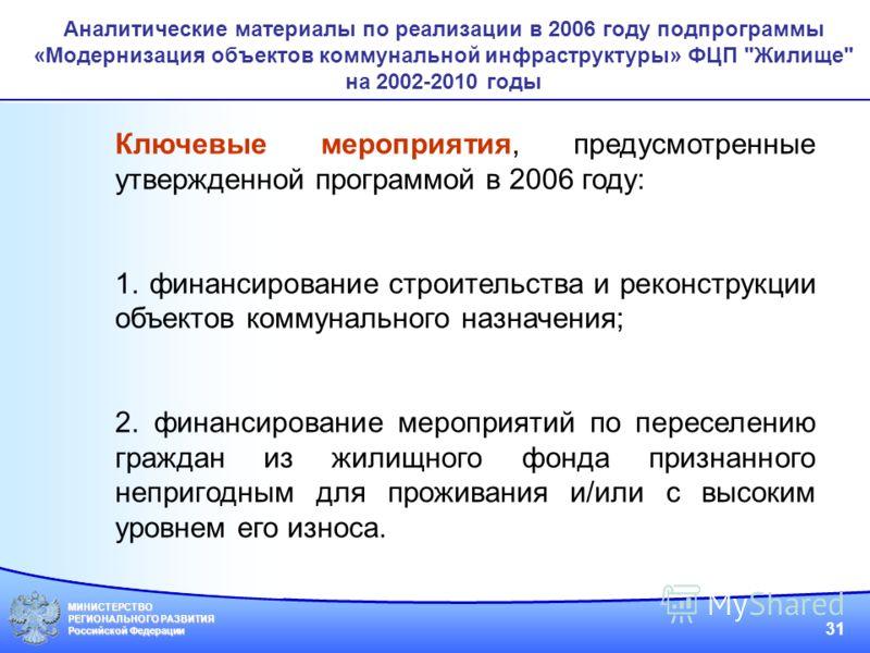 МИНИСТЕРСТВО РЕГИОНАЛЬНОГО РАЗВИТИЯ Российской Федерации 31 Аналитические материалы по реализации в 2006 году подпрограммы «Модернизация объектов коммунальной инфраструктуры» ФЦП