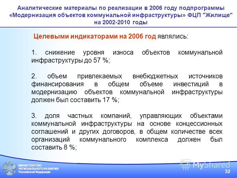 МИНИСТЕРСТВО РЕГИОНАЛЬНОГО РАЗВИТИЯ Российской Федерации 32 Аналитические материалы по реализации в 2006 году подпрограммы «Модернизация объектов коммунальной инфраструктуры» ФЦП