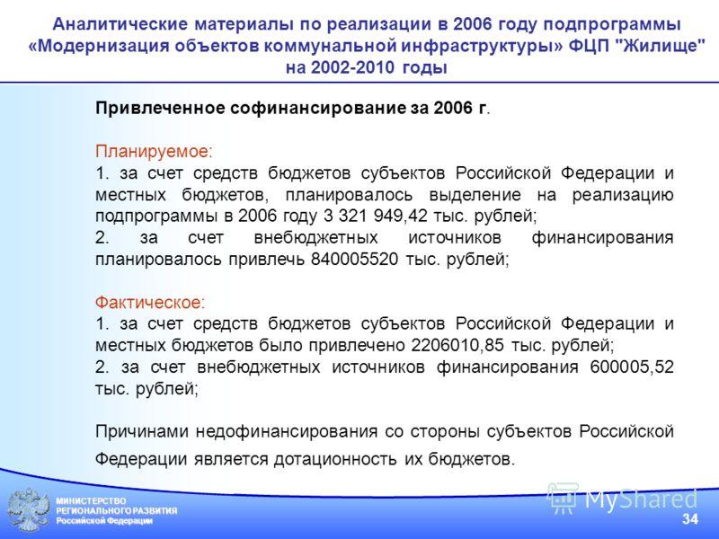 МИНИСТЕРСТВО РЕГИОНАЛЬНОГО РАЗВИТИЯ Российской Федерации 34 Аналитические материалы по реализации в 2006 году подпрограммы «Модернизация объектов коммунальной инфраструктуры» ФЦП