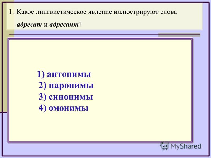 1.Какое лингвистическое явление иллюстрируют слова адресат и адресант? 1) антонимы 2) паронимы 3) синонимы 4) омонимы