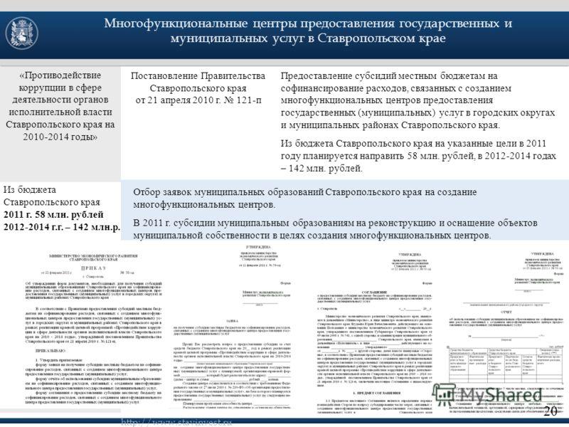 Предоставление субсидий местным бюджетам на софинансирование расходов, связанных с созданием многофункциональных центров предоставления государственных (муниципальных) услуг в городских округах и муниципальных районах Ставропольского края. Из бюджета