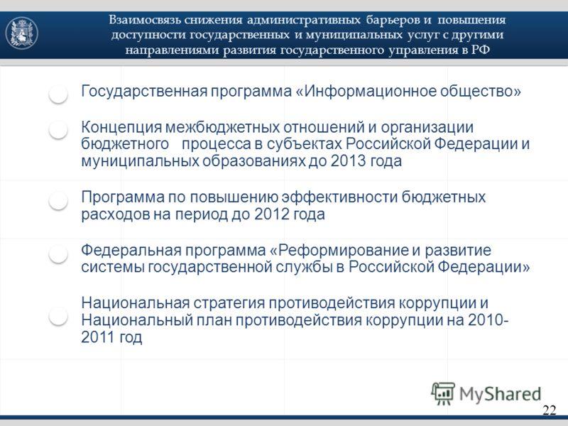 Государственная программа «Информационное общество» Концепция межбюджетных отношений и организации бюджетного процесса в субъектах Российской Федерации и муниципальных образованиях до 2013 года Программа по повышению эффективности бюджетных расходов