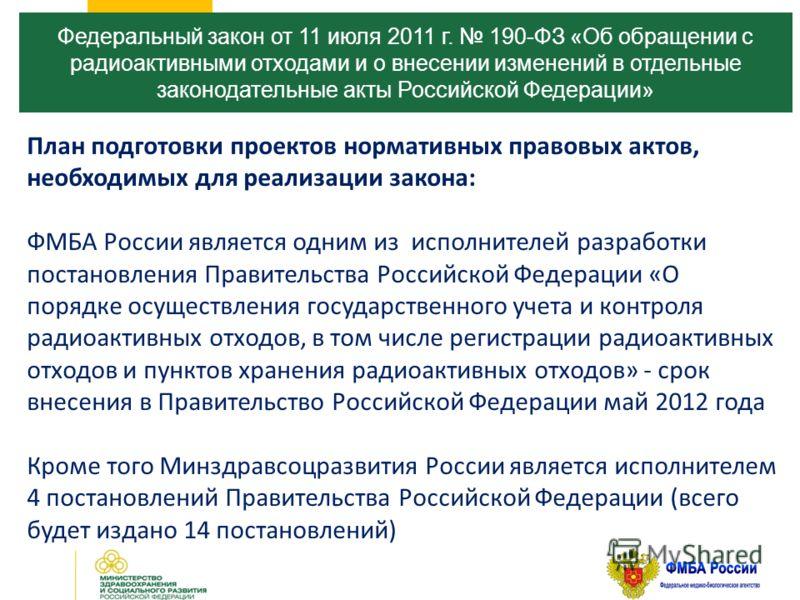 Федеральный закон от 11 июля 2011 г. 190-ФЗ «Об обращении с радиоактивными отходами и о внесении изменений в отдельные законодательные акты Российской Федерации» План подготовки проектов нормативных правовых актов, необходимых для реализации закона: