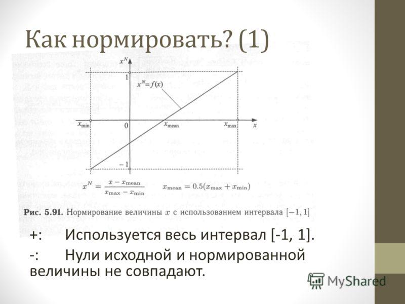 Как нормировать? (1) +:Используется весь интервал [-1, 1]. -:Нули исходной и нормированной величины не совпадают.