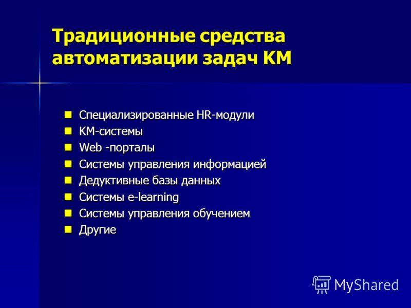 Традиционные средства автоматизации задач KM Специализированные HR-модули Специализированные HR-модули KM-системы KM-системы Web -порталы Web -порталы Системы управления информацией Системы управления информацией Дедуктивные базы данных Дедуктивные б