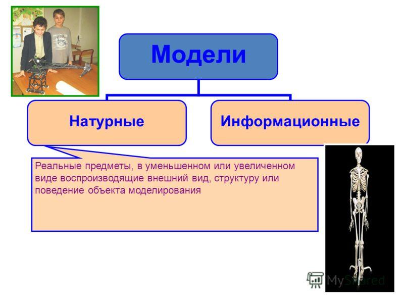 Модели НатурныеИнформационные Реальные предметы, в уменьшенном или увеличенном виде воспроизводящие внешний вид, структуру или поведение объекта моделирования