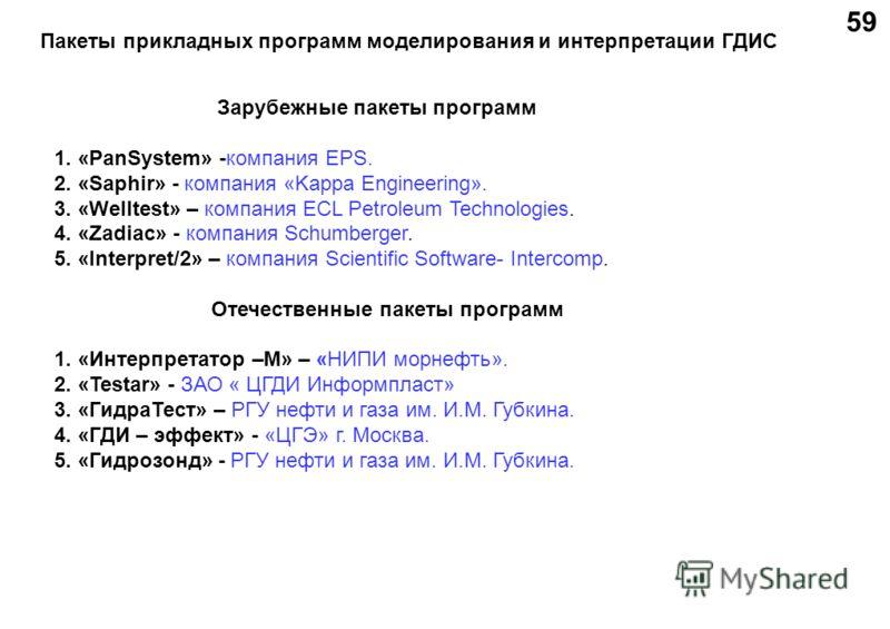 Пакеты прикладных программ моделирования и интерпретации ГДИС Зарубежные пакеты программ 1. «PanSystem» -компания EPS. 2. «Saphir» - компания «Kappa Engineering». 3. «Welltest» – компания ECL Petroleum Technologies. 4. «Zadiac» - компания Schumberger