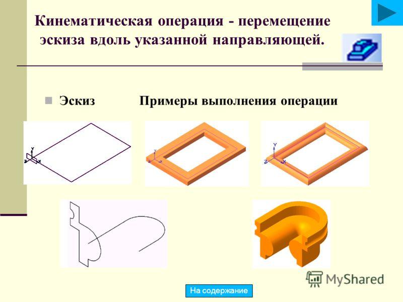 Кинематическая операция - перемещение эскиза вдоль указанной направляющей. Эскиз Примеры выполнения операции На содержание