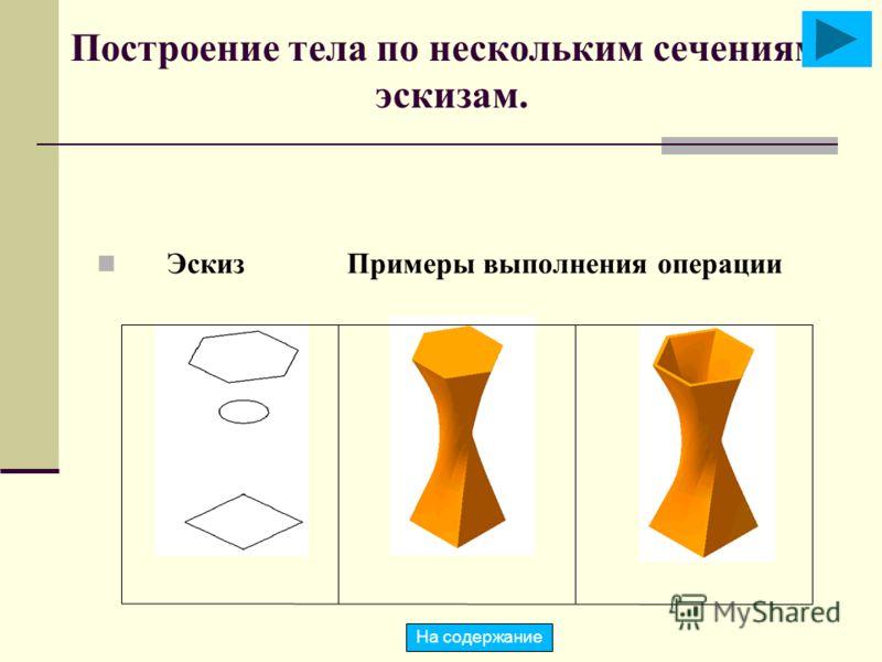 Построение тела по нескольким сечениям- эскизам. Эскиз Примеры выполнения операции На содержание