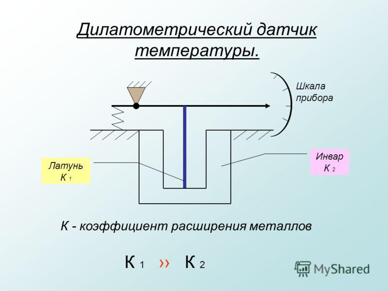 Дилатометрический датчик температуры. Инвар К 2 Латунь К 1 К - коэффициент расширения металлов К 1 К 2 Шкала прибора