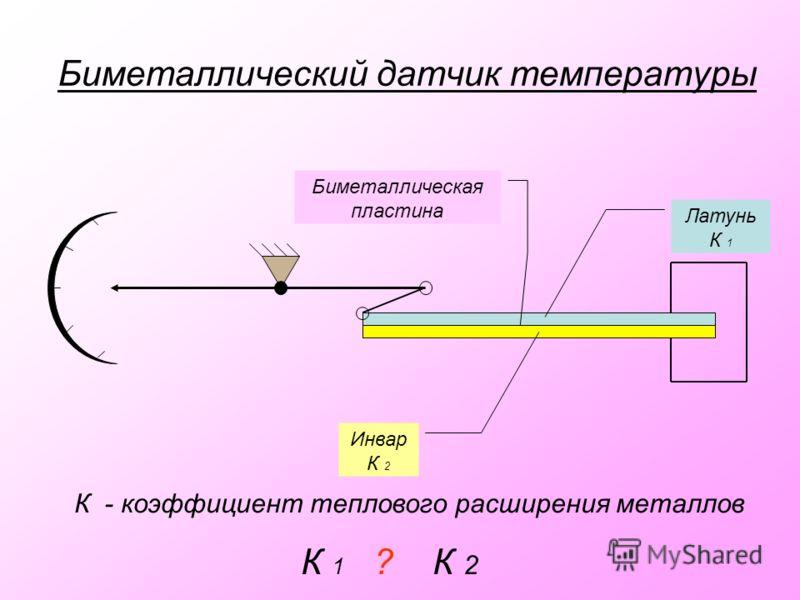 Биметаллический датчик температуры Латунь К 1 Инвар К 2 Биметаллическая пластина К - коэффициент теплового расширения металлов К 1 ? К 2