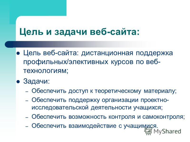 Цель и задачи веб-сайта: Цель веб-сайта: дистанционная поддержка профильных/элективных курсов по веб- технологиям; Задачи: – Обеспечить доступ к теоретическому материалу; – Обеспечить поддержку организации проектно- исследовательской деятельности уча