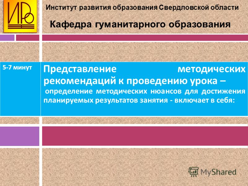Институт развития образования Свердловской области Кафедра гуманитарного образования 5-7 минут Представление методических рекомендаций к проведению урока – определение методических нюансов для достижения планируемых результатов занятия - включает в с