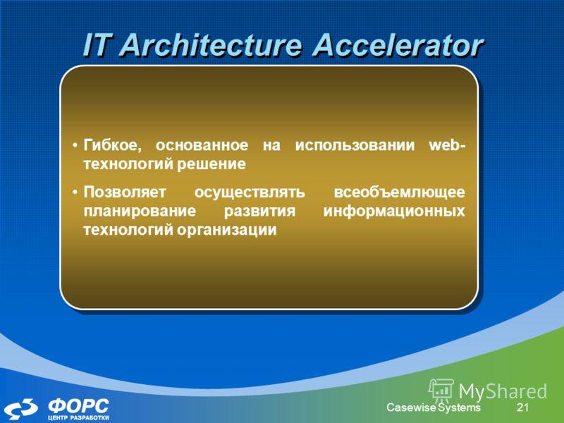 Casewise Systems21 IT Architecture Accelerator Гибкое, основанное на использовании web- технологий решение Позволяет осуществлять всеобъемлющее планирование развития информационных технологий организации Гибкое, основанное на использовании web- техно
