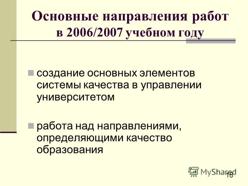 18 Основные направления работ в 2006/2007 учебном году создание основных элементов системы качества в управлении университетом работа над направлениями, определяющими качество образования