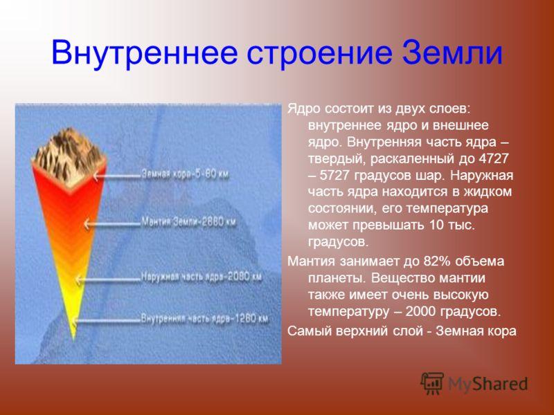 Внутреннее строение Земли Ядро состоит из двух слоев: внутреннее ядро и внешнее ядро. Внутренняя часть ядра – твердый, раскаленный до 4727 – 5727 градусов шар. Наружная часть ядра находится в жидком состоянии, его температура может превышать 10 тыс.
