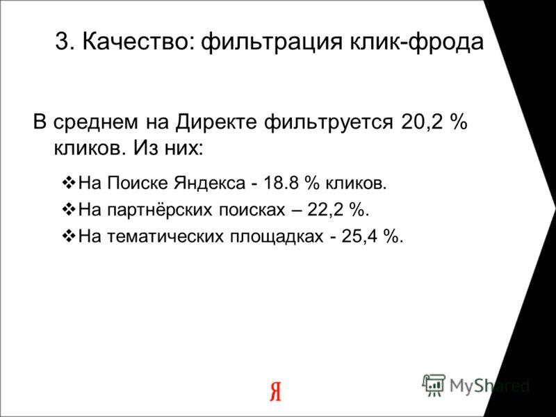 3. Качество: фильтрация клик-фрода В среднем на Директе фильтруется 20,2 % кликов. Из них: На Поиске Яндекса - 18.8 % кликов. На партнёрских поисках – 22,2 %. На тематических площадках - 25,4 %.