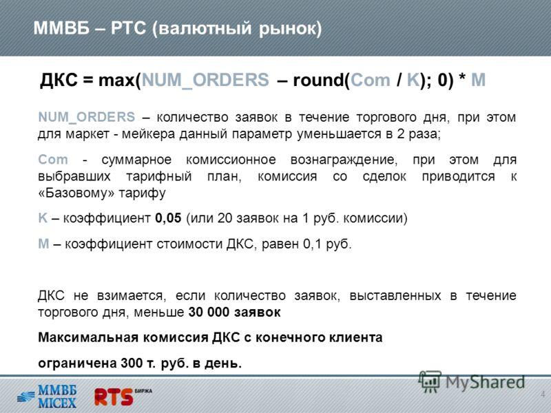 ММВБ – РТС (валютный рынок) 4 ДКС = max(NUM_ORDERS – round(Com / K); 0) * М NUM_ORDERS – количество заявок в течение торгового дня, при этом для маркет - мейкера данный параметр уменьшается в 2 раза; Com - суммарное комиссионное вознаграждение, при э