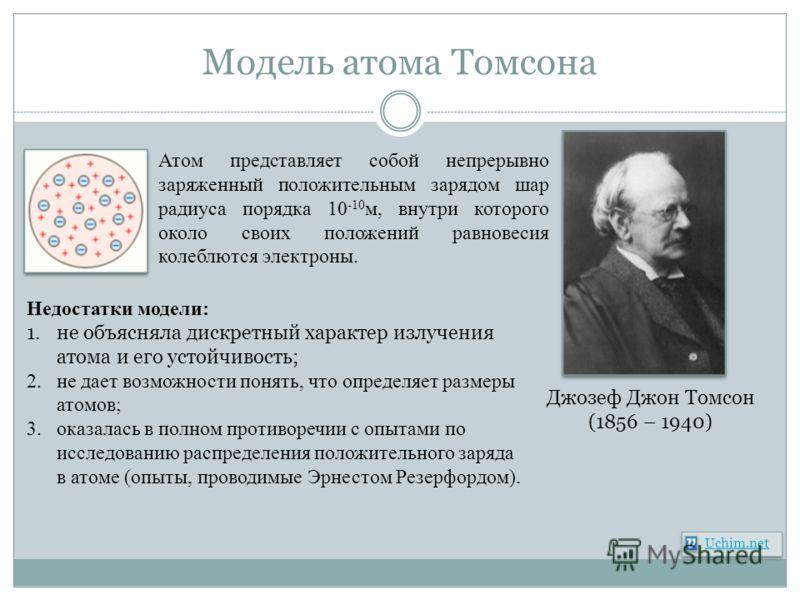 Модель атома Томсона Uchim.net Джозеф Джон Томсон (1856 – 1940) Атом представляет собой непрерывно заряженный положительным зарядом шар радиуса порядка 10 -10 м, внутри которого около своих положений равновесия колеблются электроны. Недостатки модели