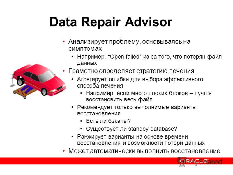 Data Repair Advisor Анализирует проблему, основываясь на симптомах Например, Open failed из-за того, что потерян файл данных Грамотно определяет стратегию лечения Агрегирует ошибки для выбора эффективного способа лечения Например, если много плохих б