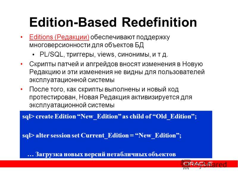 Edition-Based Redefinition Editions (Редакции) обеспечивают поддержку многоверсионности для объектов БД PL/SQL, триггеры, views, синонимы, и т д. Скрипты патчей и апгрейдов вносят изменения в Новую Редакцию и эти изменения не видны для пользователей