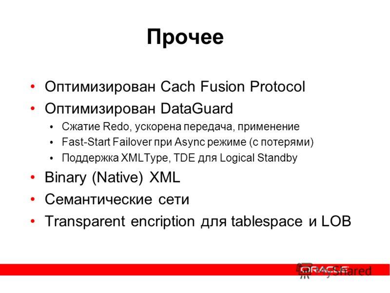 Прочее Оптимизирован Cach Fusion Protocol Оптимизирован DataGuard Cжатие Redo, ускорена передача, применение Fast-Start Failover при Async режиме (с потерями) Поддержка XMLType, TDE для Logical Standby Binary (Native) XML Семантические сети Transpare