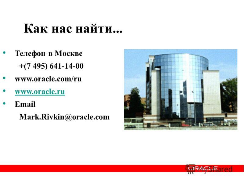 Как нас найти... Телефон в Москве +(7 495) 641-14-00 www.oracle.com/ru www.oracle.ru Email Mark.Rivkin@oracle.com