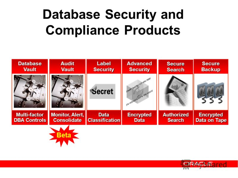 Database Security and Compliance Products AdvancedSecurityLabelSecurityDatabaseVault Multi-factor DBA Controls EncryptedDataDataClassification SecureBackup Encrypted Data on Tape SecureSearch AuthorizedSearch AuditVault Monitor, Alert, Consolidate Be