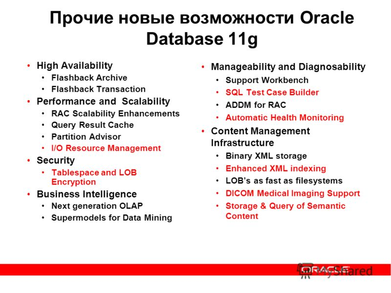 Прочие новые возможности Oracle Database 11g High Availability Flashback Archive Flashback Transaction Performance and Scalability RAC Scalability Enhancements Query Result Cache Partition Advisor I/O Resource Management Security Tablespace and LOB E