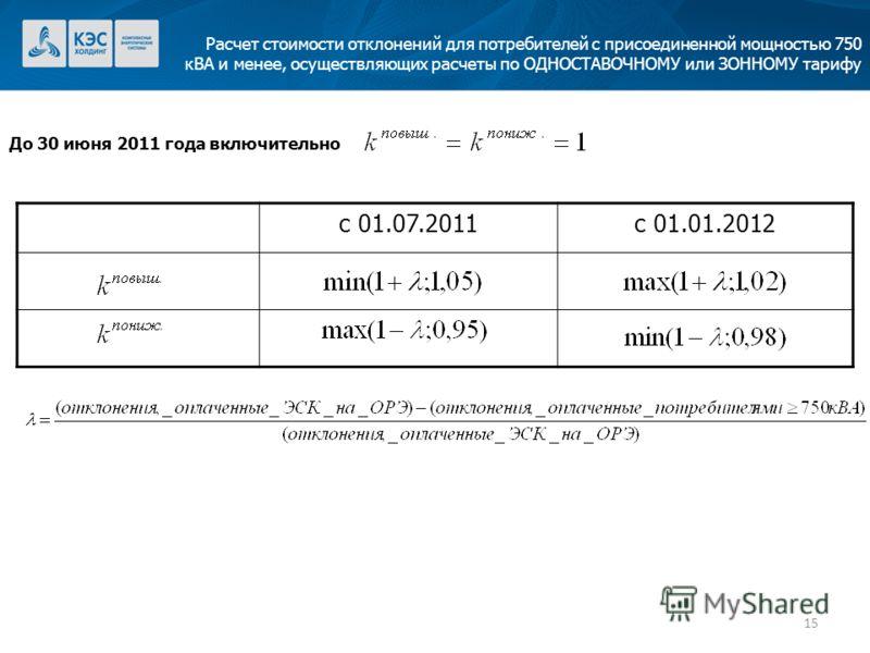15 Расчет стоимости отклонений для потребителей с присоединенной мощностью 750 кВА и менее, осуществляющих расчеты по ОДНОСТАВОЧНОМУ или ЗОННОМУ тарифу До 30 июня 2011 года включительно с 01.07.2011с 01.01.2012