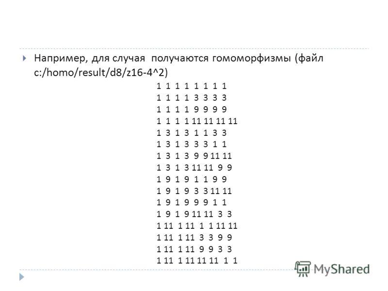 Например, для случая получаются гомоморфизмы ( файл c:/homo/result/d8/z16-4^2) 1 1 1 1 1 1 1 1 1 1 1 1 3 3 3 3 1 1 1 1 9 9 9 9 1 1 1 1 11 11 11 11 1 3 1 3 1 1 3 3 1 3 1 3 3 3 1 1 1 3 1 3 9 9 11 11 1 3 1 3 11 11 9 9 1 9 1 9 1 1 9 9 1 9 1 9 3 3 11 11 1