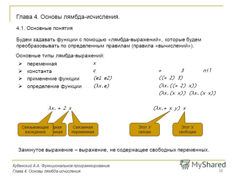 10 Кубенский А.А. Функциональное программирование. Глава 4. Основы лямбда-исчисления. Будем задавать функции с помощью «лямбда-выражений», которые будем преобразовывать по определенным правилам (правила «вычислений»). Основные типы лямбда-выражений: