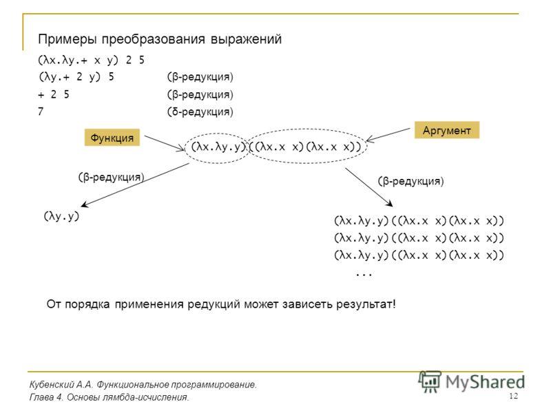 12 Кубенский А.А. Функциональное программирование. Глава 4. Основы лямбда-исчисления. Примеры преобразования выражений (λx.λy.+ x y) 2 5 (λy.+ 2 y) 5 ( β-редукция) + 2 5 ( β-редукция) 7 ( δ-редукция) (λx.λy.y)((λx.x x)(λx.x x)) Функция Аргумент (λy.y