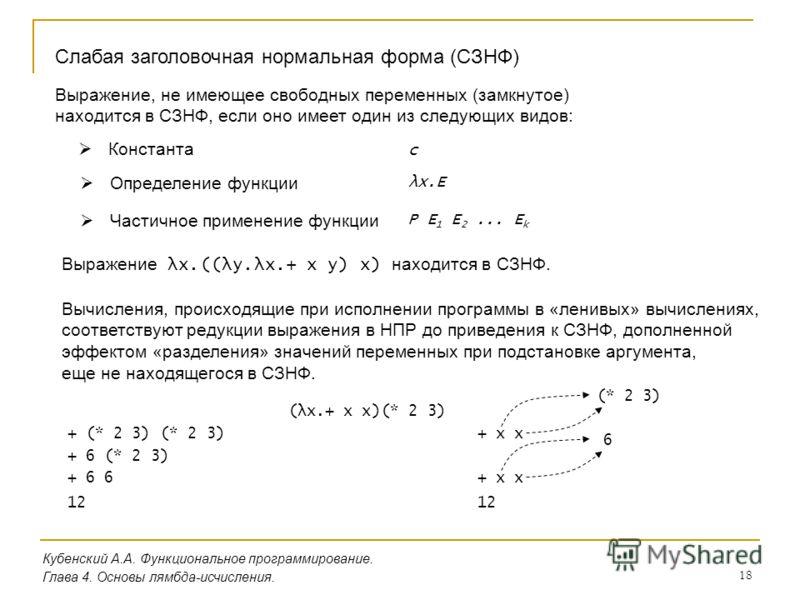 18 Кубенский А.А. Функциональное программирование. Глава 4. Основы лямбда-исчисления. Слабая заголовочная нормальная форма (СЗНФ) Выражение, не имеющее свободных переменных (замкнутое) находится в СЗНФ, если оно имеет один из следующих видов: Констан