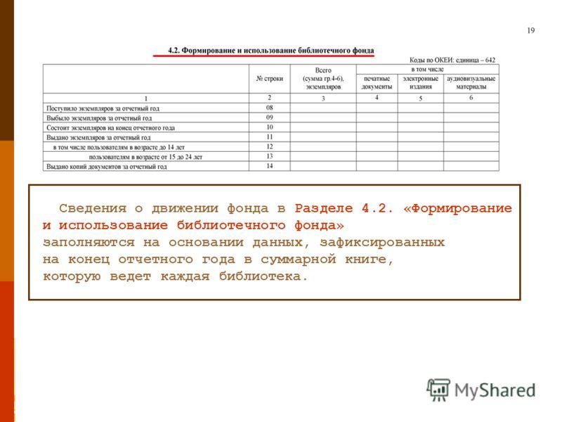 Сведения о движении фонда в Разделе 4.2. «Формирование и использование библиотечного фонда» заполняются на основании данных, зафиксированных на конец отчетного года в суммарной книге, которую ведет каждая библиотека.