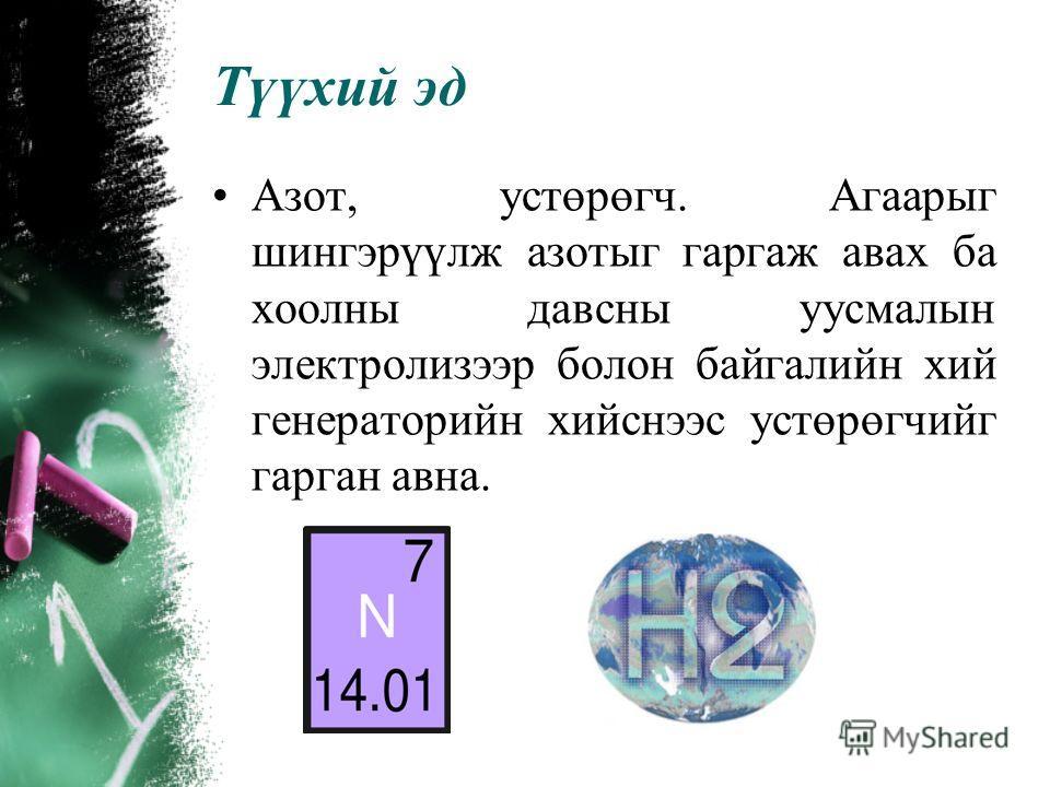 Аммиакийн үйлдвэрлэл Аммиак нь азотын нэгдлүүдийг гаргаж авдаг үндсэн түүхий эд юм. Түүнийг азотын хүчил, аммонийн нитрат, шээг, амофос, нитрофос, аммонийн полифосфат, аминийн болон азидын нэгдлүүдийг нийлэгжүүлэн гарган авахад хэрэглэнэ. Аммиакийг т