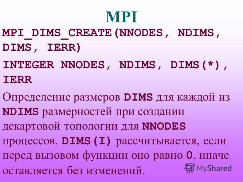 MPI MPI_DIMS_CREATE(NNODES, NDIMS, DIMS, IERR) INTEGER NNODES, NDIMS, DIMS(*), IERR Определение размеров DIMS для каждой из NDIMS размерностей при создании декартовой топологии для NNODES процессов. DIMS(I) рассчитывается, если перед вызовом функции