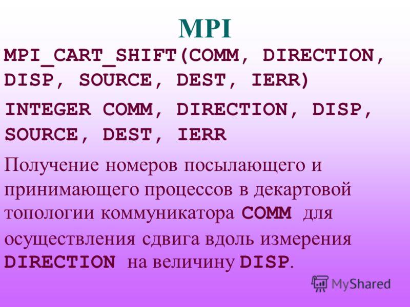 MPI MPI_CART_SHIFT(COMM, DIRECTION, DISP, SOURCE, DEST, IERR) INTEGER COMM, DIRECTION, DISP, SOURCE, DEST, IERR Получение номеров посылающего и принимающего процессов в декартовой топологии коммуникатора COMM для осуществления сдвига вдоль измерения