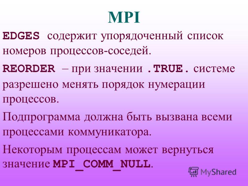 MPI EDGES содержит упорядоченный список номеров процессов-соседей. REORDER – при значении.TRUE. системе разрешено менять порядок нумерации процессов. Подпрограмма должна быть вызвана всеми процессами коммуникатора. Некоторым процессам может вернуться