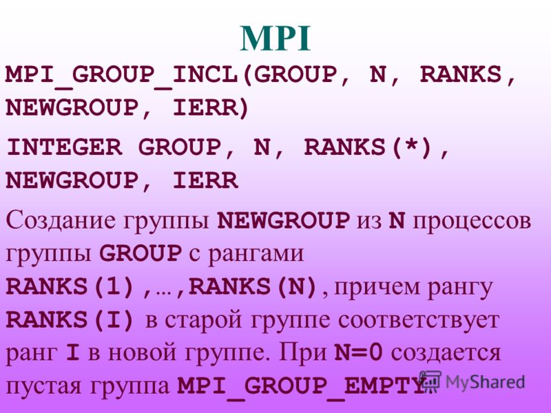 MPI MPI_GROUP_INCL(GROUP, N, RANKS, NEWGROUP, IERR) INTEGER GROUP, N, RANKS(*), NEWGROUP, IERR Создание группы NEWGROUP из N процессов группы GROUP с рангами RANKS(1),…,RANKS(N), причем рангу RANKS(I) в старой группе соответствует ранг I в новой груп