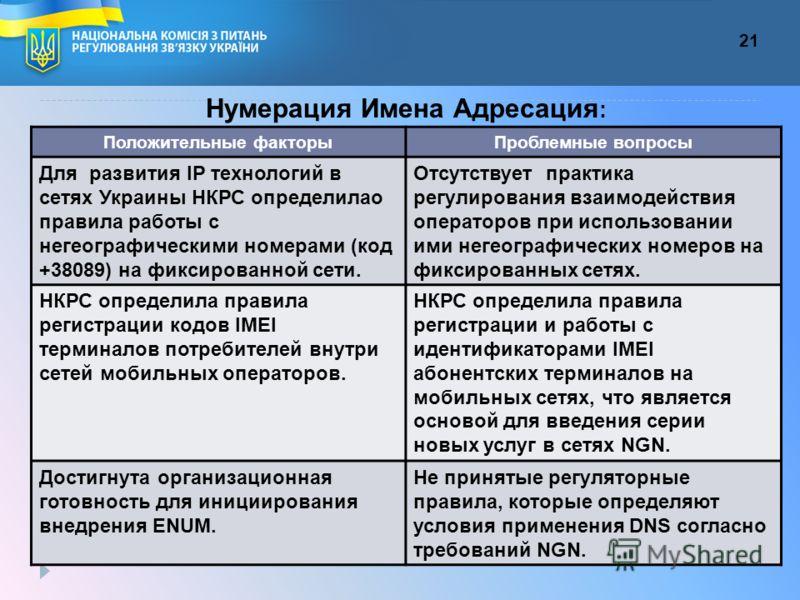 21 Нумерация Имена Адресация : Положительные факторыПроблемные вопросы Для развития ІP технологий в сетях Украины НКРС определилао правила работы с негеографическими номерами (код +38089) на фиксированной сети. Отсутствует практика регулирования взаи