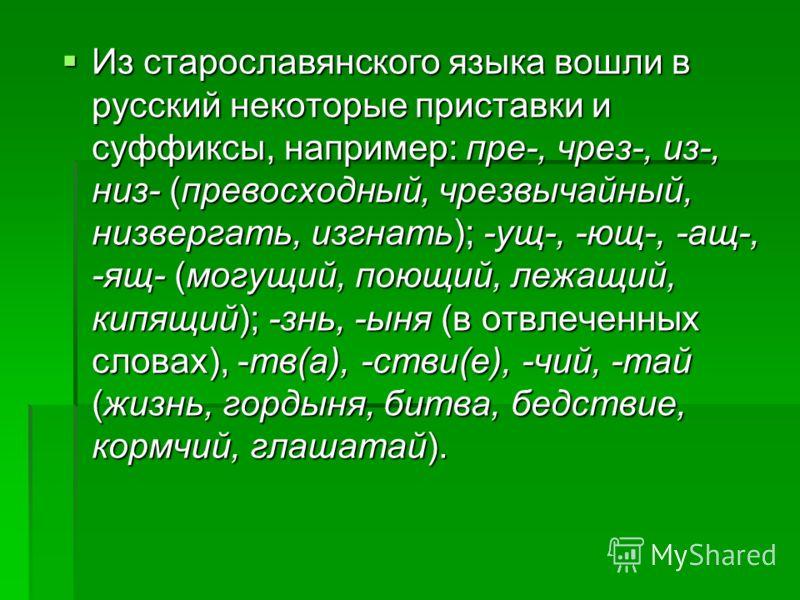 Из старославянского языка вошли в русский некоторые приставки и суффиксы, например: пре-, чрез-, из-, низ- (превосходный, чрезвычайный, низвергать, изгнать); -ущ-, -ющ-, -ащ-, -ящ- (могущий, поющий, лежащий, кипящий); -знь, -ыня (в отвлеченных словах