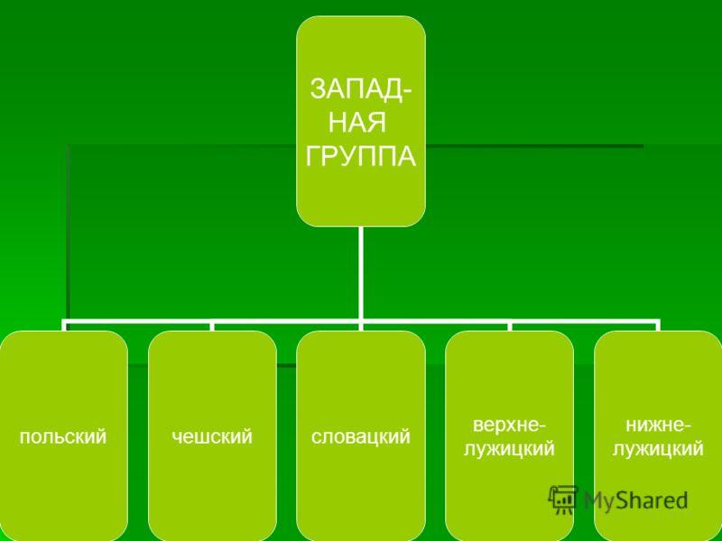 ЗАПАД- НАЯ ГРУППА польскийчешскийсловацкий верхне- лужицкий нижне- лужицкий